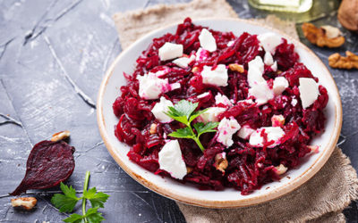 Red beets and carrots salad with goat cheese